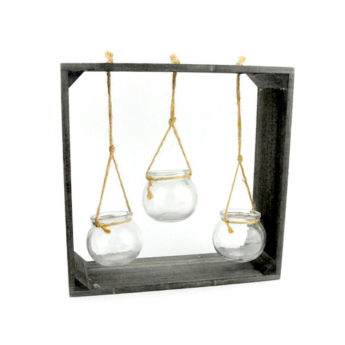 marco decorativo madera 3 portavelas 30 x 10 x 30 cm.