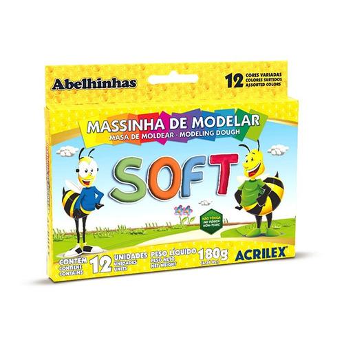 masa de moldear soft acrilex 12 colores - mosca
