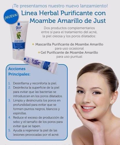 mascarilla purificante anti acné con moambe amarillo just