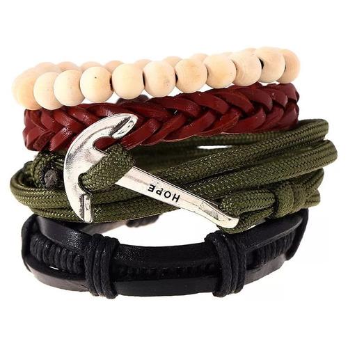 masculina couro pulseiras masculinas
