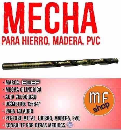 mecha cilindrica alta velocidad 13/64  hierro metal mader mf