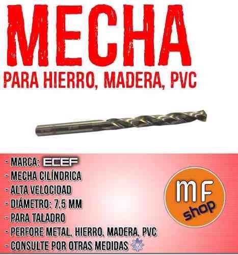 mecha cilindrica alta velocidad 7,5 mm hierro metal madera