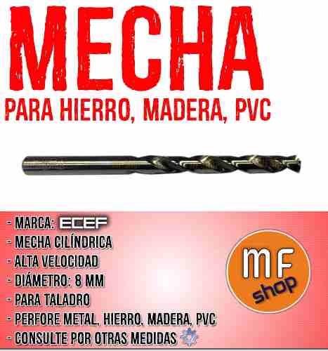 mecha cilindrica alta velocidad 8 mm hierro metal madera mf