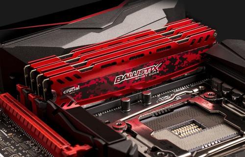 memória 16gb ddr4 2400mhz crucial ballistix sport red