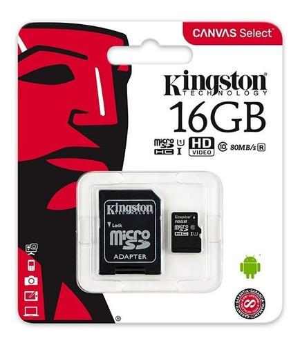 memoria micro sd 128 gb kingston clase 10 vel. 80 mb/s