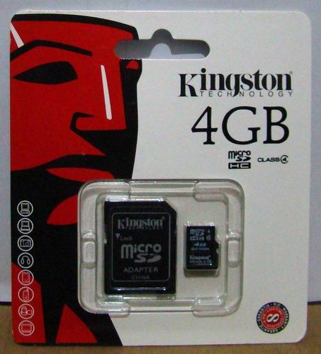 memoria micro sd 4 gb, kingston, con adaptador sd,.