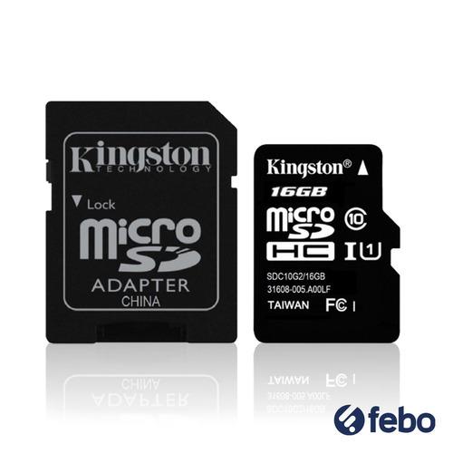 memoria micro sd kingston 16gb c10 80 mb/s + pendrive febo