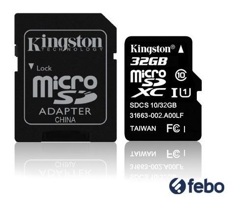 memoria micro sd kingston 32gb canvas 80mb/s + pendrive febo