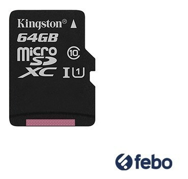 memoria micro sd kingston 64gb canvas 80mb/s + pendrive febo