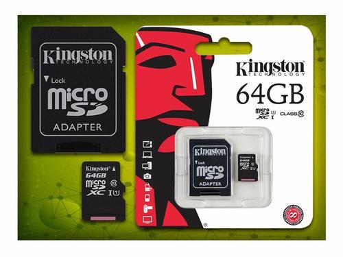 memoria micro sd kingston 64gb canvas select 80 m/s + regalo