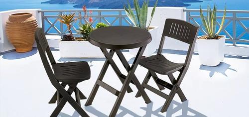 mesa + 2 sillas plegables plástico para jardín rimax