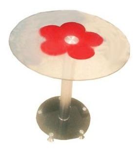 mesa auxiliar - mesa ratona metal cromado y vidrio templado