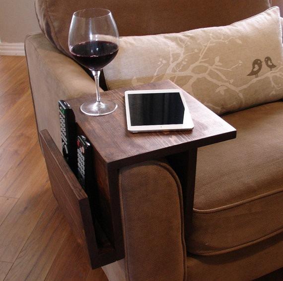 Mesa auxiliar para posabrazos sof madera maciza en mercado libre - Mesa auxiliar sofa ...
