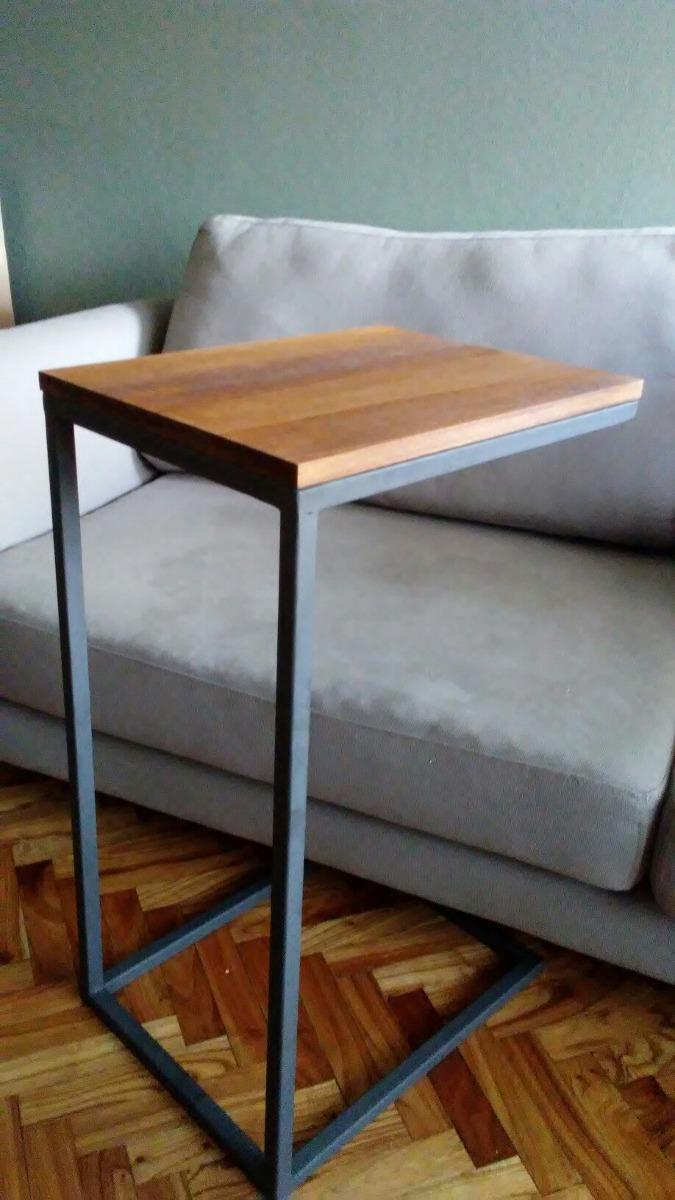 Mesa auxiliar para sof o cama hierro y madera en mercado libre - Mesita auxiliar sofa ...