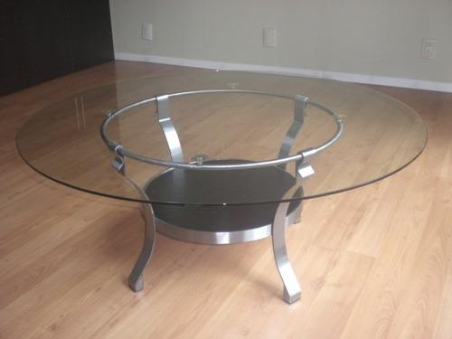 mesa centro nueva en acero pulido diseño conservador