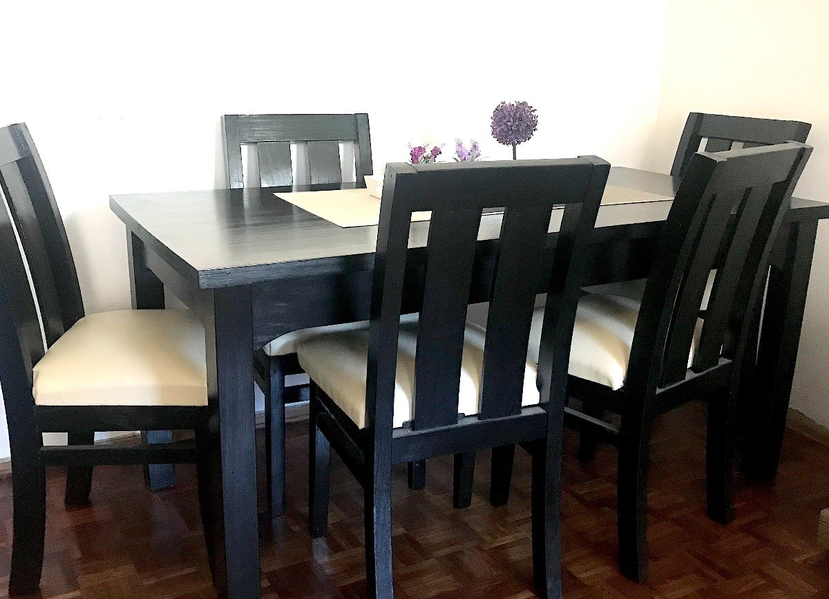 Mesa Comedor 6 Personas, Pino Negra - $ 8.000,00 en Mercado Libre