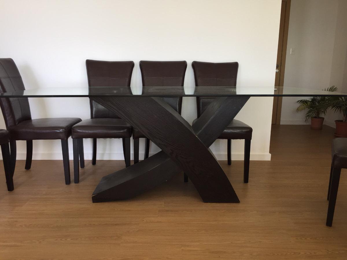 Mesa comedor base de fresno y vidrio templado - Mesas de vidrio templado ...