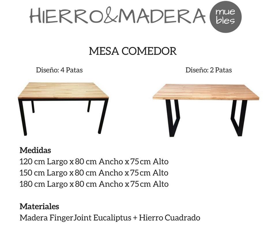 Mesa Comedor En Hierro Y Madera 120x80x75 - H & M Muebles - $ 6.900 ...