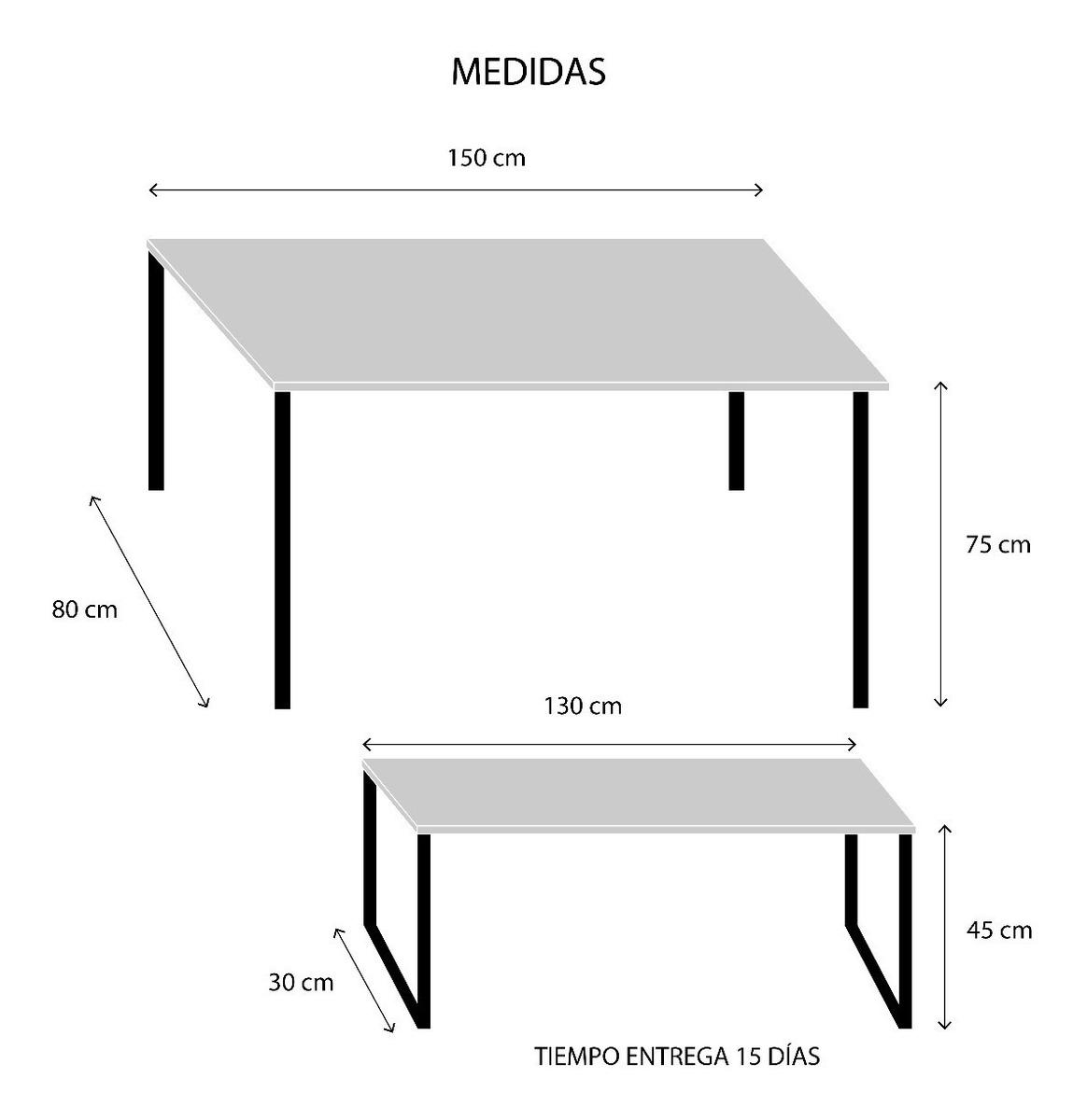 Mesa Comedor Hierro Madera 2 Bancos 150x80x75cm Electro Home