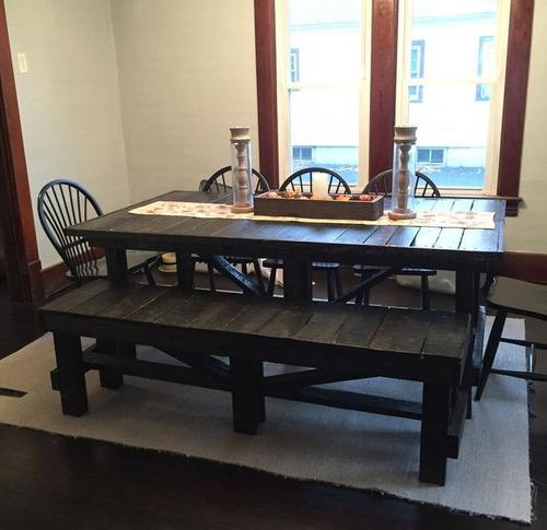 mesa con banquetas rustica madera pallets