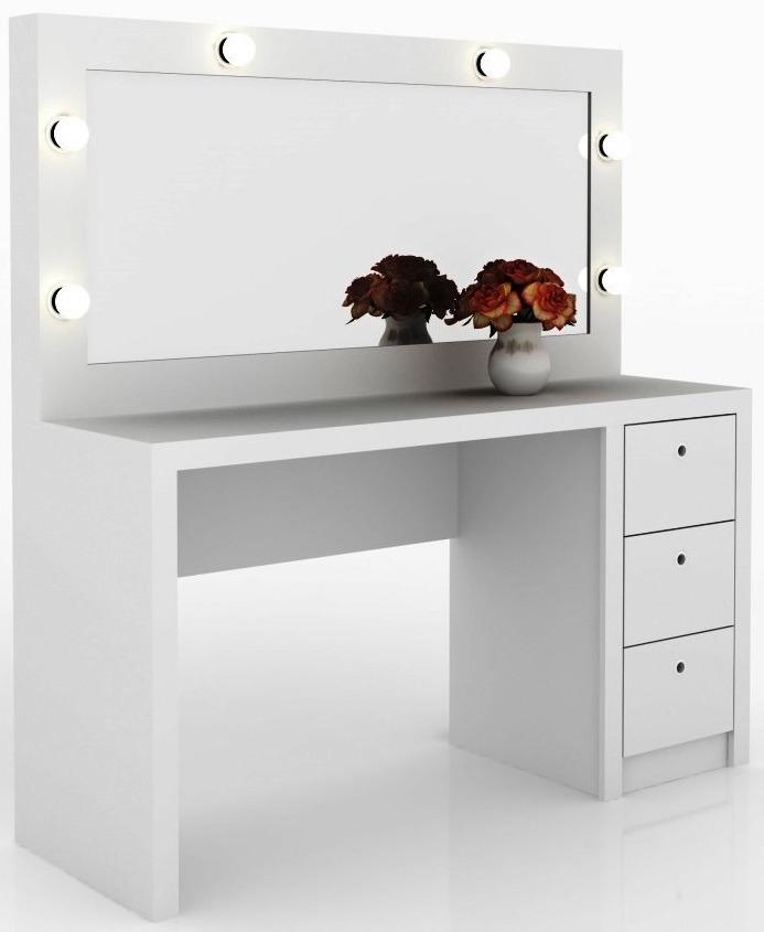 Mesa con espejo dressoire aparador tocador 3 cajones y - Tocador con espejo y luces ...