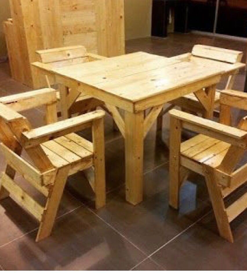 Mesa con sillas de pallet en mercado libre - Sillas con palets ...