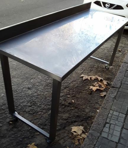 mesa de 1.66 c/zocalo 10 cm y ruedas®