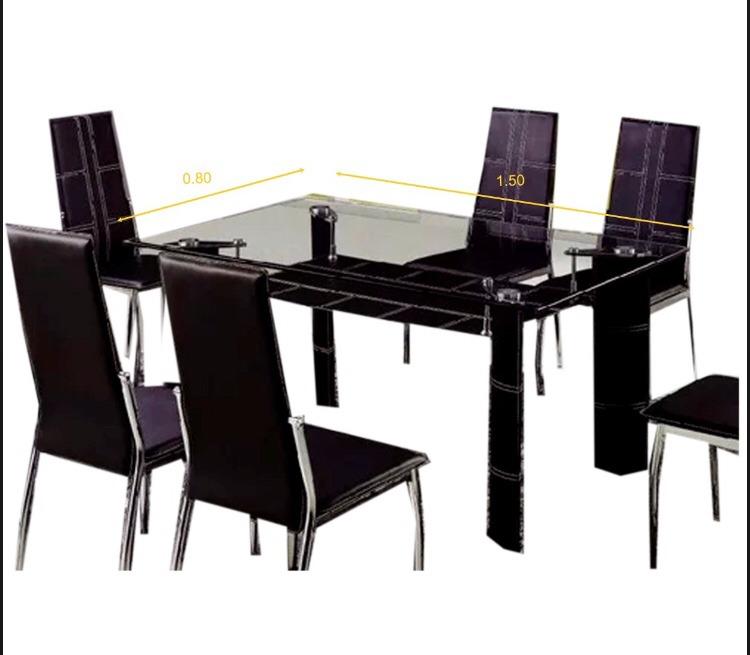 Mesa De Comedor Con 6 Sillas - Vidrio Y Cuero