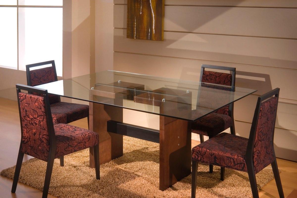 Mesa de comedor en madera y tapa vidrio u s 580 00 en for Mesas de comedor de cristal y aluminio