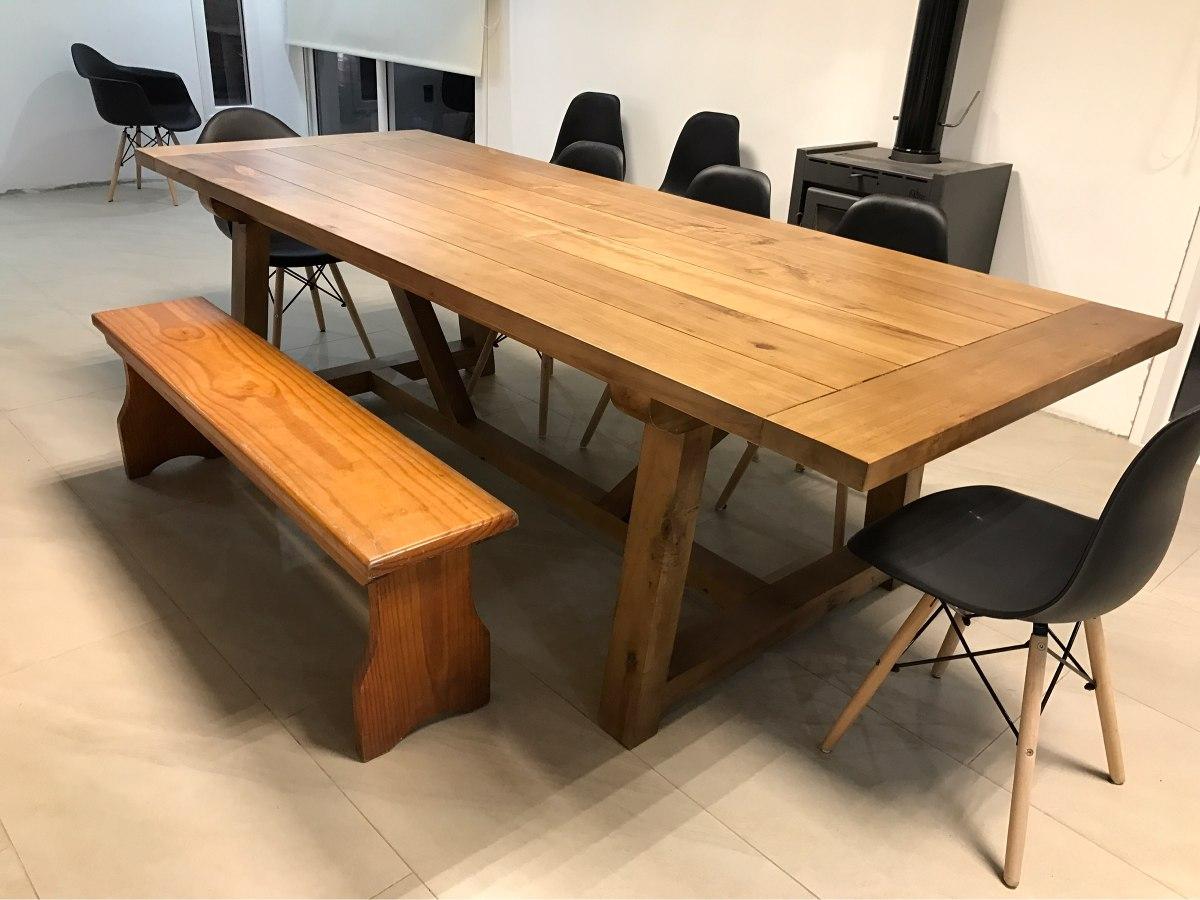 Mesa de comedor madera maciza barbacoa rustica for Madera para mesa de comedor
