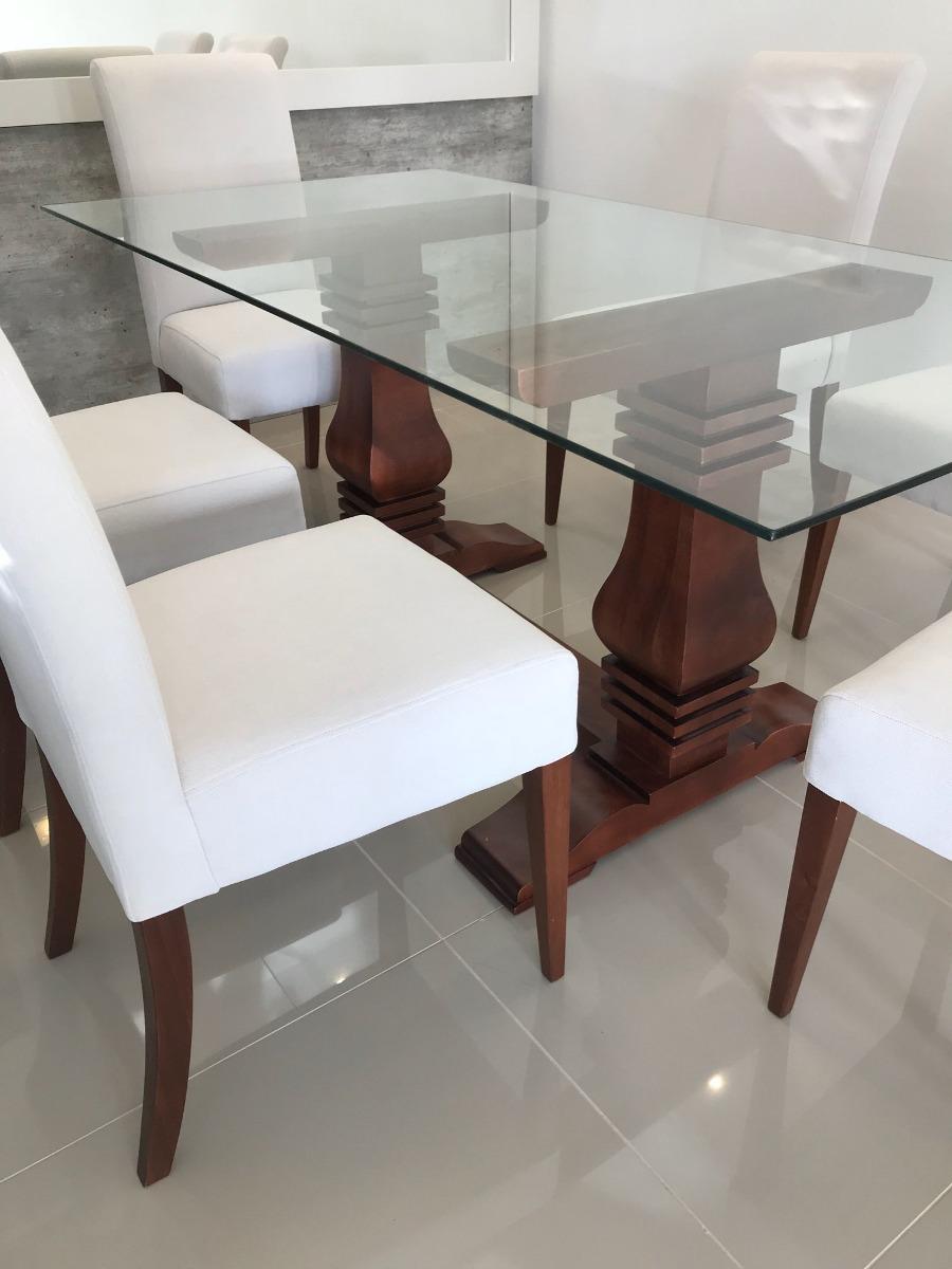 Mesa De Comedor Rustica Con Vidrio Base En Cedro - $ 19.500,00 en ...