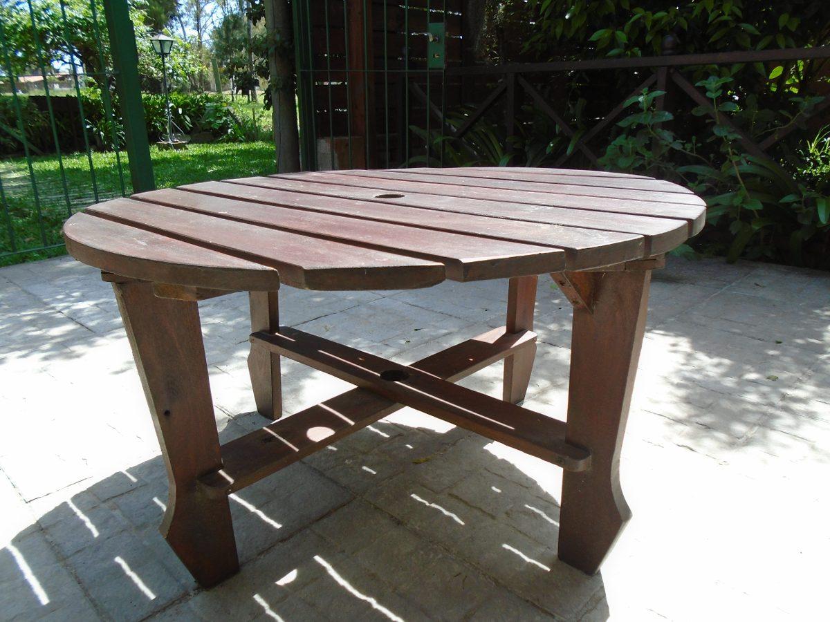 Mesa de jard n circular en madera ideal para juego - Mesa de jardin ...