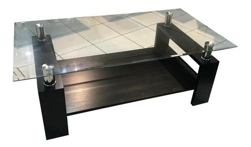 mesa de living de vidrio y madera ! nuevas 1.20 x 0.65m