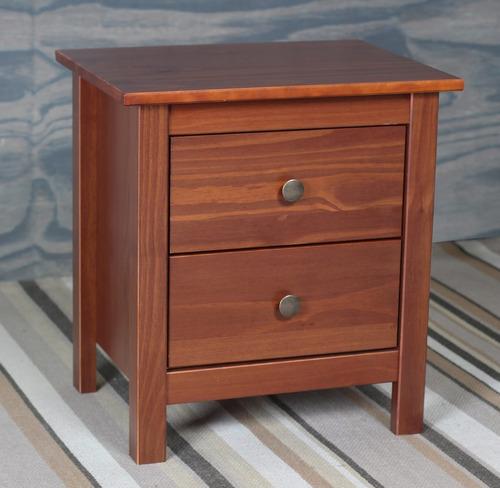 mesa de luz madera maciza 2 cajones calidad premium hts