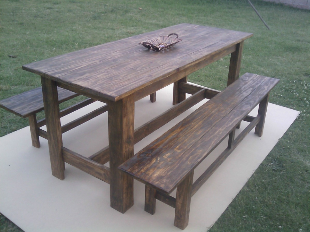 Mesa de madera maciza para interior y exterior comedor en mercado libre - Mesa de madera maciza ...
