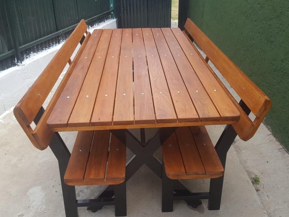 Mesa de madera y hierro y 2 bancos para jardin o barbacoa - Mesa de jardin ...