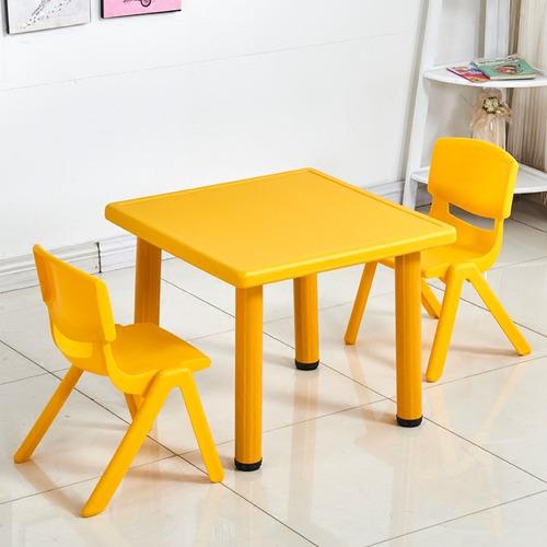 mesa de plastico y metal + 2 sillas - infantil