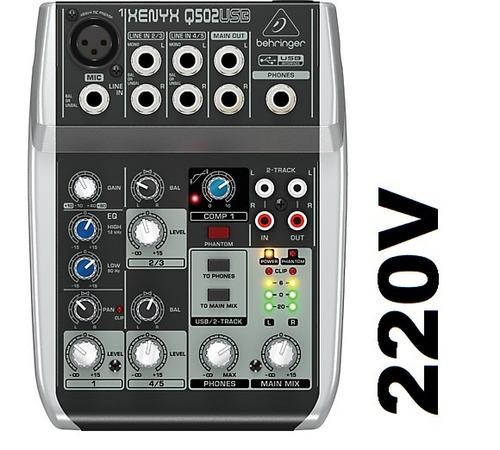 mesa de som q502usb xenyx behringer mixer q 502 usb 220v