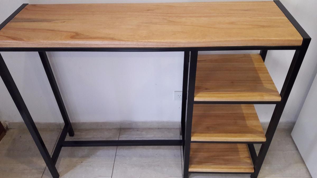 mesa industrial de madera y hierro mesa desayunadora con estantes industrial hierro y madera