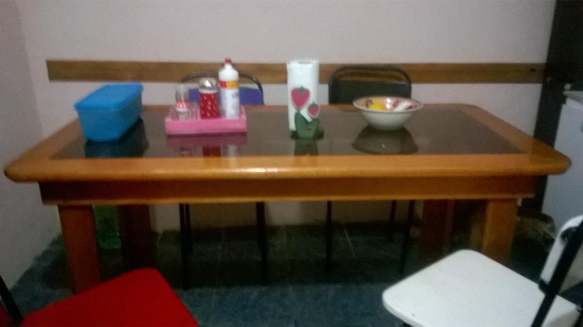Mesa para comedor o cocina madera dura con vidrio templado - Mesa cocina cristal templado ...