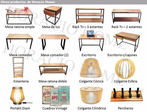 mesa ratona juego living hierro y madera - horacio home