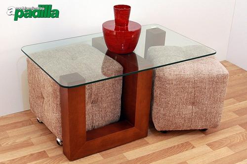 mesa ratona zeta con tapa cristal + 2 puff con ruedas