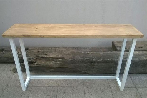 mesa rustica de arrime madera y hierro tipo industrial unica