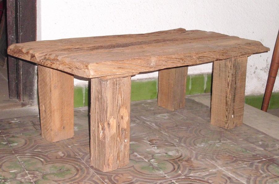 Mesa r stica de madera maciza en mercado libre for Mesa de camping de madera