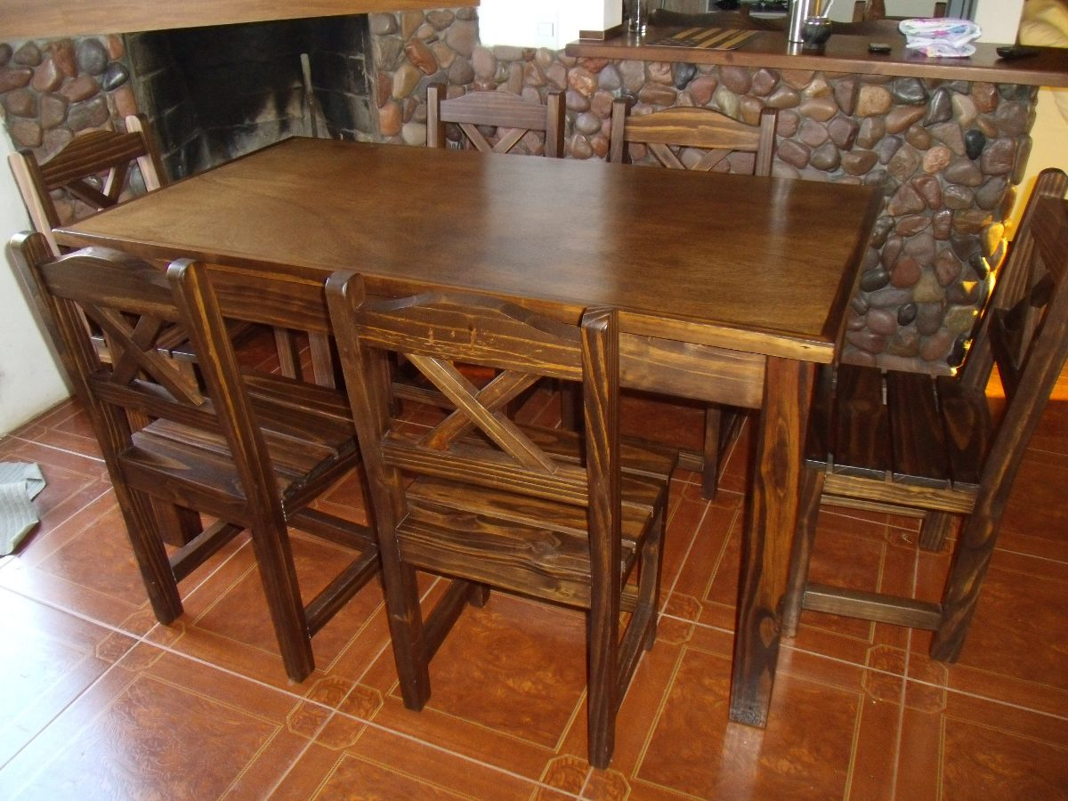 Mesa y 6 sillas en madera maciza lustrada estilo rustico en mercado libre - Sillas rusticas para comedor ...