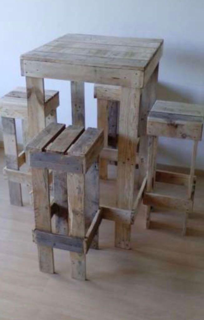Mesas altas de madera palet palets en mercado - Mesas de palets de madera ...