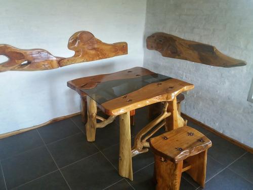 mesas exclusivas. todo en cipres, trabajo artesanal.