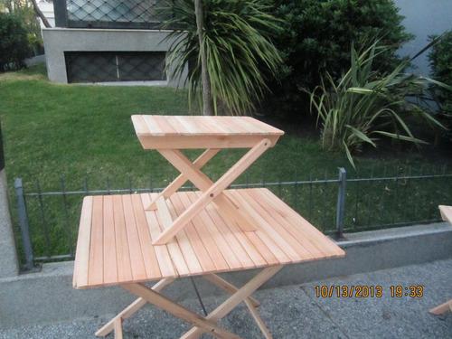 mesas madera plegables rectangulares y redondas eucaliptus