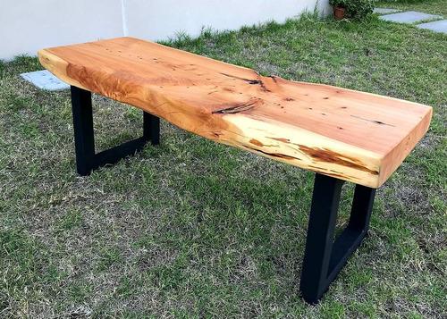 mesas tablones comedor living madera hierro