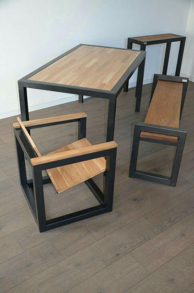 Mesas y sillas hierro y madera en mercado libre - Mesas madera y hierro ...